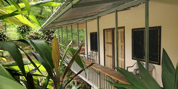 Rancho Corcovado is a comfortable eco-lodge perched on a bluff above Drake Bay.