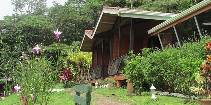 Heliconias Lodge is an ecolodge located in Bijagua de Upala between Tenorio Volcano and Miravalles Volcano.  Lodge amenities include restaurant and groomed trails.
