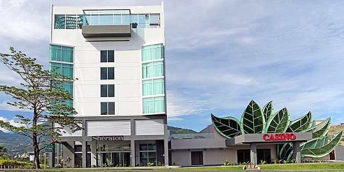 The Sheraton San Jose Hotel is a modern hotel and casino located in Escazu.  Hotel amenities include restaurant, bar, club lounge, swimming pool, fitness room, casino and internet access.
