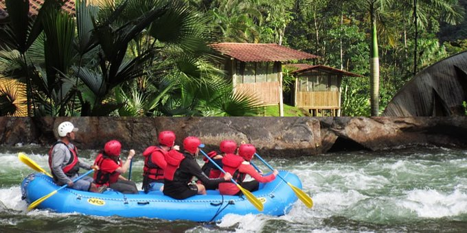 To get to the Pacuare River Lodge, you'll go to the Pacuare River Bar and Grill, located between Turrialba and Siquirres, where a lodge representative will welcome you and show you where you can safely park your car. Then you'll meet your guide who will take you whitewater rafting down the river to the lodge or through the jungle by horseback or 4-wheel ATV, those last options are under request only. A base camp for whitewater rafting, the lodge offers a variety of tours exploring Class lll to Class V river rapids. Your guides will take you on hikes to waterfalls and natural waterslides. You might visit an indigenous village or practice kayaking. You will overnight in individual screened rustic cabins dotted along the river banks with patio decks facing the water. Outside there are hammocks and inside a comfortable bed with all linens. Shared bathroom and cold-water shower facilities are easily accessed and a central, covered open-air restaurant will provide delicious meals, beer, and wine included in the rafting tours. The off-the-grid lodge uses solar panels and hydroelectric power that can charge up your devices. Limited wifi might be accessible. The friendly staff will provide personalized service and when it's time to leave, will help you retrieve your car.
