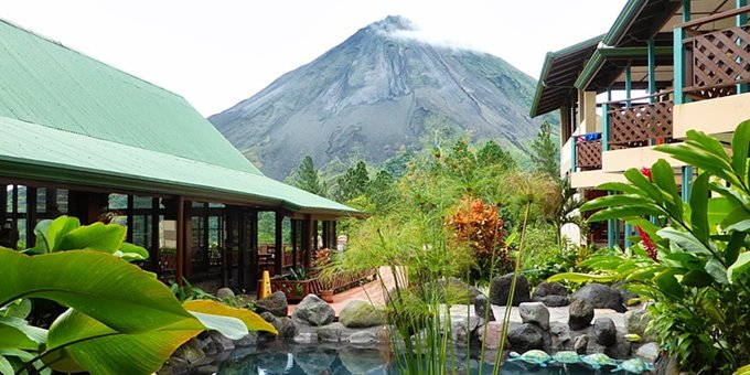 Arenal Observatory Lodge is a unique eco-lodge located outside La Fortuna and near Lake Arenal. The eco-lodge offers guests a unique location as it is located as close to the Arenal Volcano as you can get. Guests of Arenal Observatory Lodge will enjoy amenities such as swimming pool, internet access, restaurant, bar, tropical gardens, waterfall, wonderful birding, and nature trails.