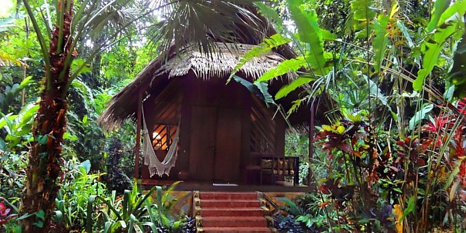 Shawandha Lodge offers gorgeous little bungalows constructed of local hardwoods, spread among tropical gardens and jungle.