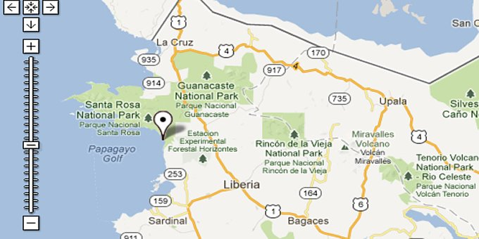 Google Maps of Costa Rica