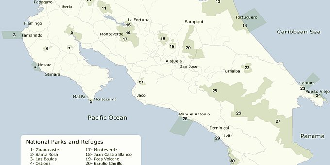 The following is a map of the national parks in Costa Rica.