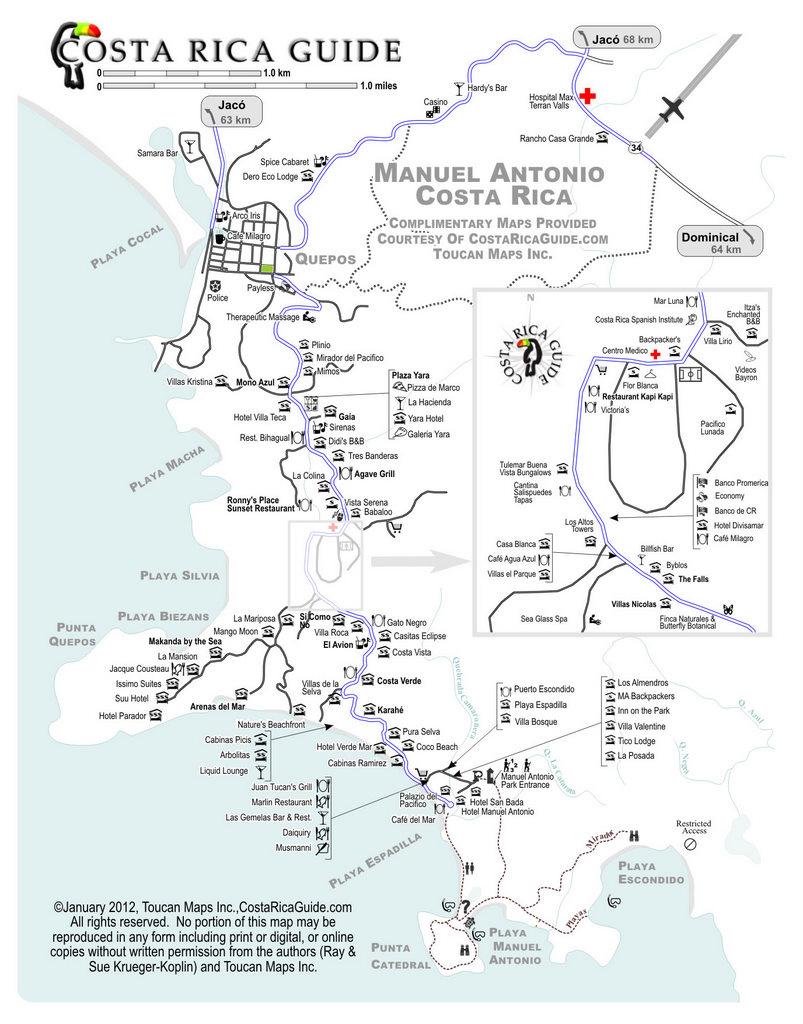Map of manuel antonio costa rica manuel antonio map sciox Choice Image