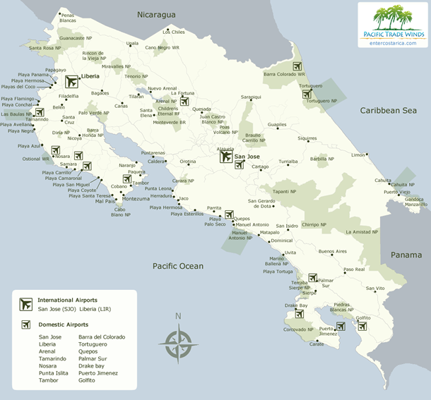 Map with Costa Rica Airports
