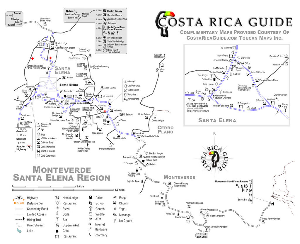 picture regarding Printable Map of Costa Rica identified as Monteverde Map - Map of Monteverde, Costa Rica and Santa Elena