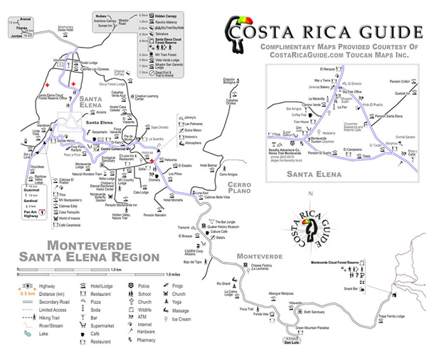 Monteverde Map Map of Monteverde Costa Rica and Santa Elena – Tourist Map Of Costa Rica