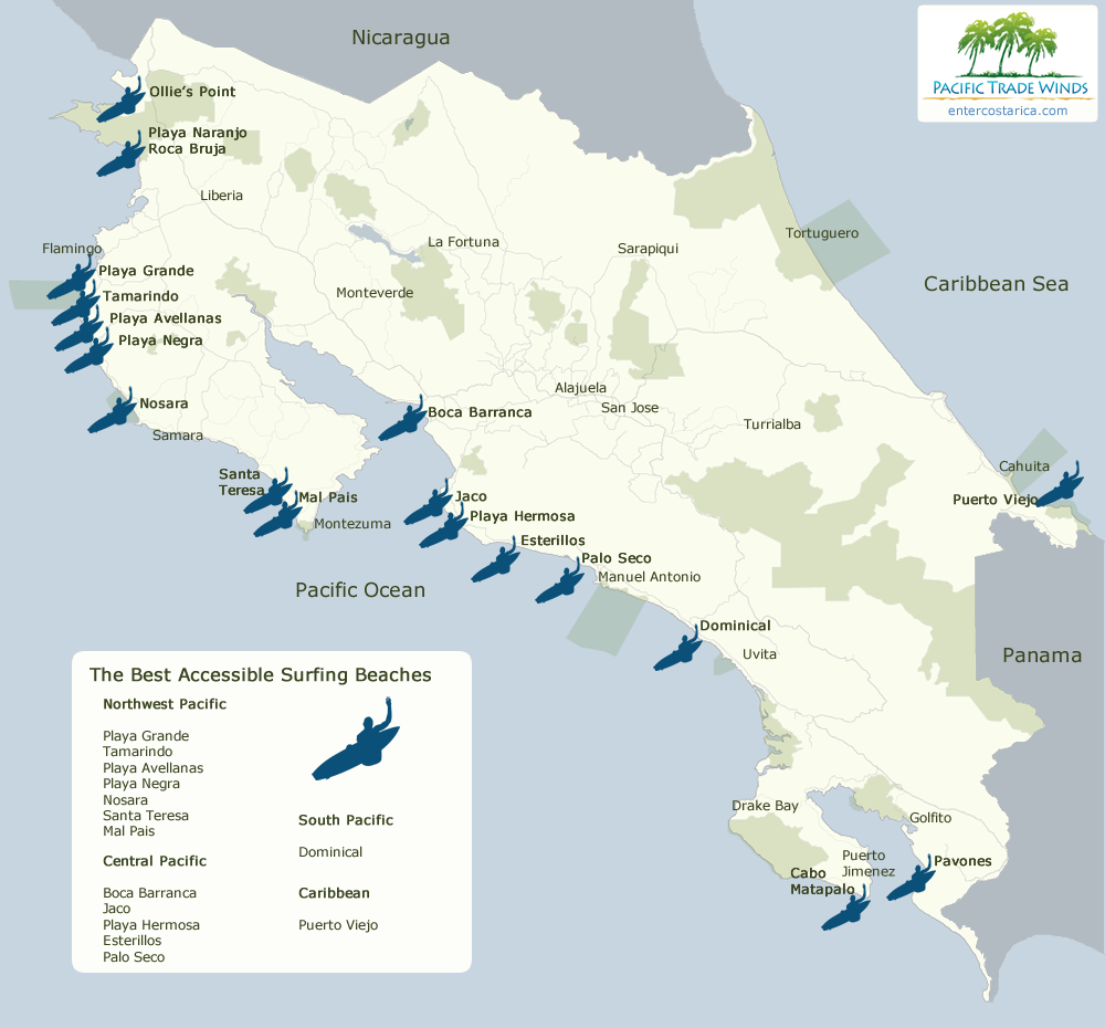 Best Surf Maps Costa Rica Surfing Destinations Map