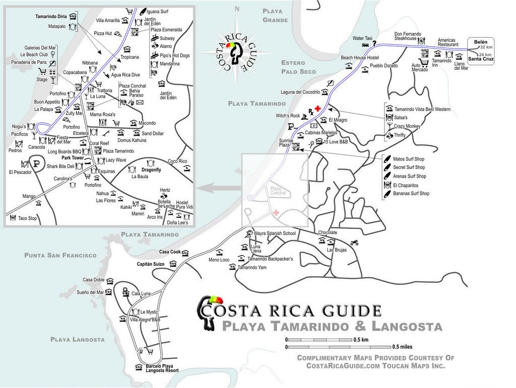 playa tamarindo costa rica map Map Of Tamarindo Costa Rica playa tamarindo costa rica map