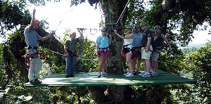 Canopy Ziplining in La Fortuna offres fantasticc views of the Arenal Volcano