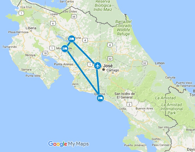 Costa Rica Highlights Family Getaway Map
