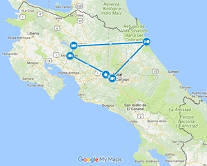 Costa Rica Safari Vacation Package Map