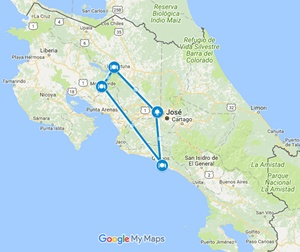 Eco Xtreme Adrenaline Costa Rica Adventure Vacation Map