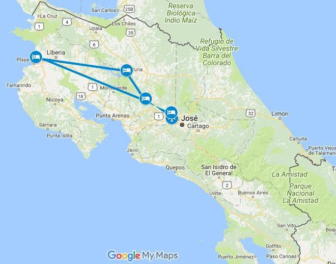 Enchanting Costa Rica Honeymoon Vacation Map