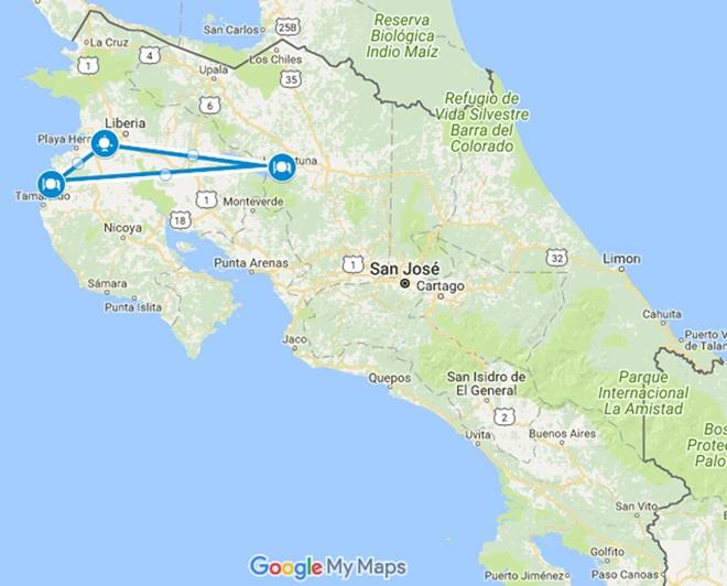 Insano Banano Inclusive Adventure Costa Rica Vacation Map
