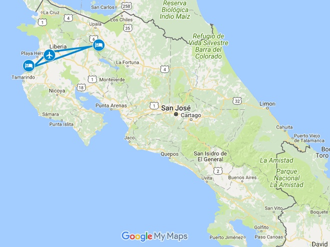 Jungle Love Costa Rica Honeymoon Vacation Map