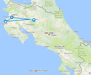 Extreme Tropics Inclusive Adventure Costa Rica Vacation Map