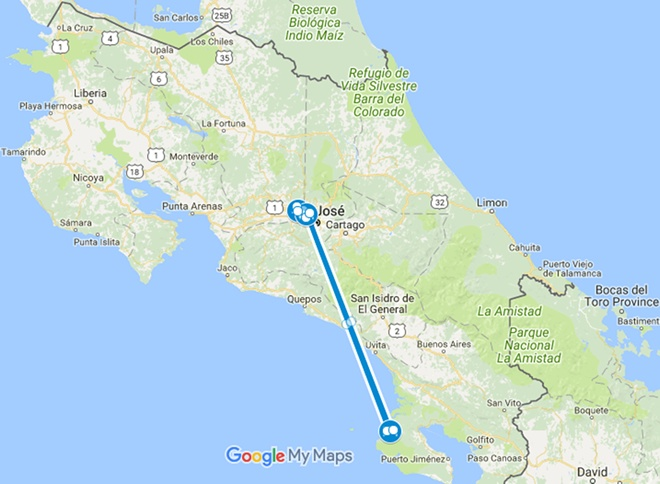 Osa Explorer Costa Rica Nature Vacation Map