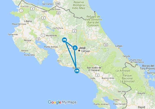 Passion in Paradise Costa Rica Honeymoon Vacation Map