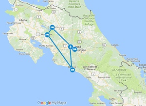 Pura Vida Best of Costa Rica Family Vacation Map
