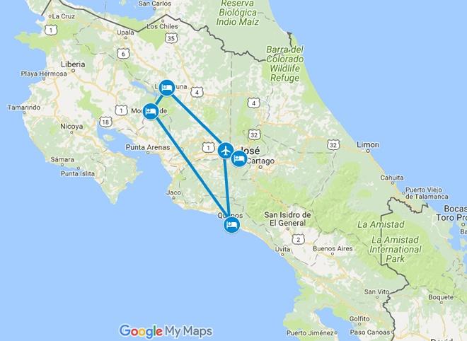Pura Vida Best of Costa Rica Family Vacation Map