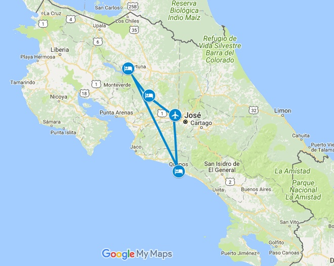 Sensual Safari Costa Rica Honeymoon Vacation Map
