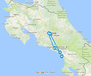 South Pacific EcoXtreme Costa Rica Adventure Vacation Map